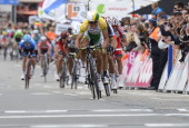 Australia's Simon Gerrans sprints to win the 100th edition of the LiegeBastogneLiege oneday classic cycling race on April 27 2014 in Liege AFP PHOTO...