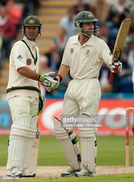 Australia's Simon Katich handshake headtohead hands with Ricky Ponting after reaching 50 runs during day two of the first npower Test match at Sophia...