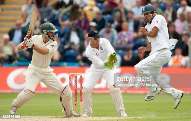Australia's Simon Katich hits past England's Ravi Bopara during day two of the first npower Test match at Sophia Gardens Cardiff