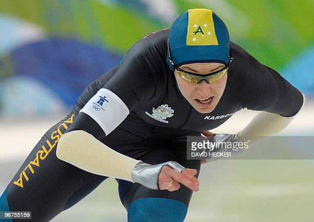 Australia's Sophie Muir competes in the Ladies' 500m Speedskating race at the Richmond Olympic Oval in Richmond during the XXI Winter Olympics on...