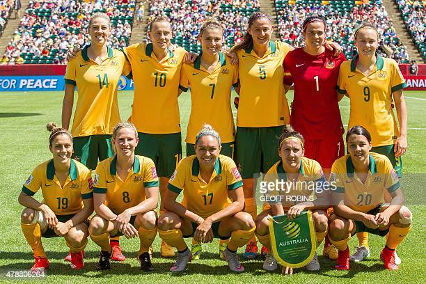Australia's starting 11 for their quarterfinal football match against Japan at the 2015 FIFA Women's World Cup at Commonwealth Stadium in Edmonton...