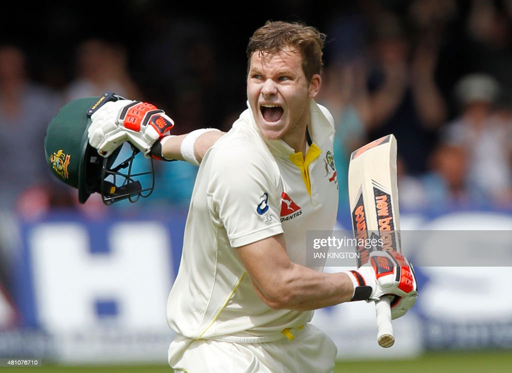 Australias Steven Smith celebrates reaching a double century on the second day of the second Ashes cricket test match between England and Australia...