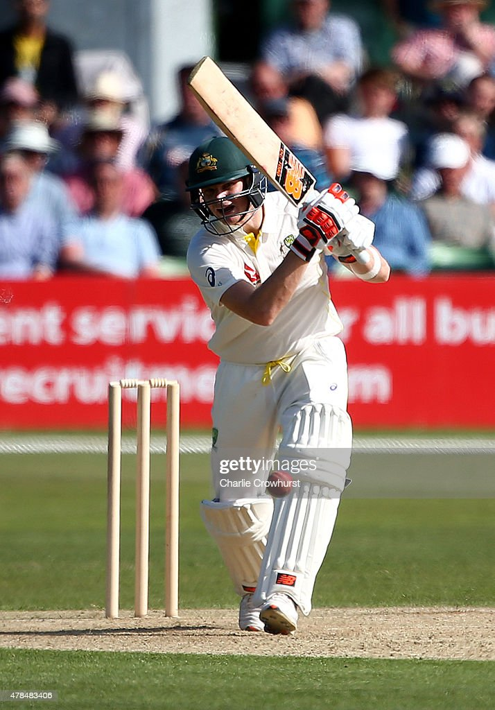 Australia's Steven Smith hits out during day one of the tour match between Kent and Austrlia at The Spitfire Ground St Lawrence on June 25 2015 in...