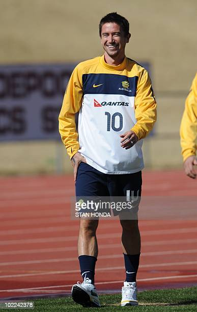 Australia's striker Harry Kewell trains at Ruimsig Stadium in Roodepoort on June 20 2010 during the 2010 World Cup football tournament Kewell...