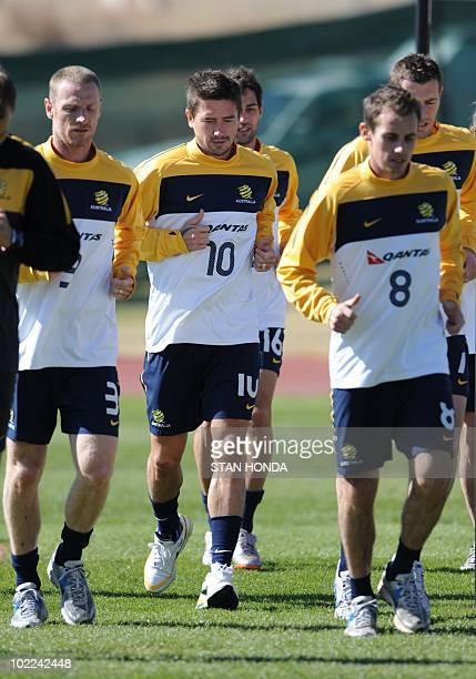 Australia's striker Harry Kewell trains with teammates at Ruimsig Stadium in Roodepoort on June 20 2010 during the 2010 World Cup football tournament...