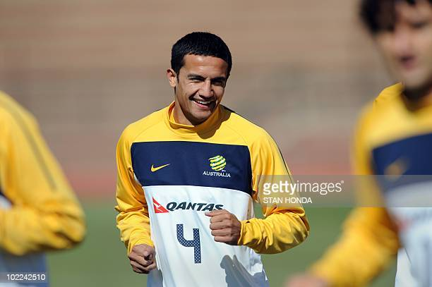 Australia's striker Tim Cahill trains at Ruimsig Stadium in Roodepoort on June 20 2010 during the 2010 World Cup football tournament Cahill missed...