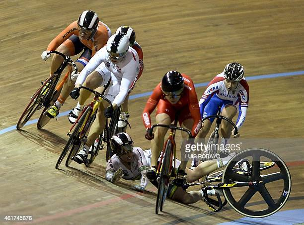 Australia's Team member Caitlin Ward falls during the UCI Cycling World Cup Women's Keirin Final at Alcides Nieto Patino velodrome on January 18 in...