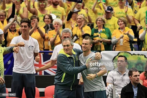 Australia's team react after the first round Davis Cup tennis match Czech Republic vs Australia on March 8 in Ostrava Czech Republic AFP PHOTO /...