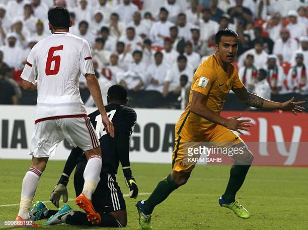 Australia's Tim Cahill celebrates after scoring a goal during their World Cup 2018 Asia qualifying football match United Arab Emirates versus...