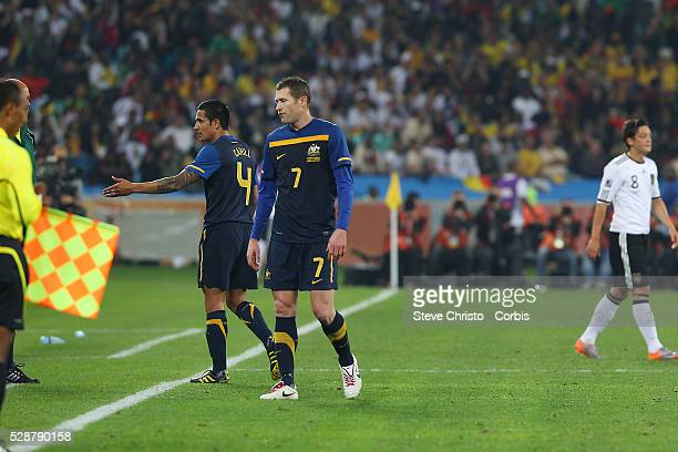 Australia's Tim Cahill walks off after receiving a red card at Moses Mabhida Stadium Durban South Africa Saturday 13th June 2010