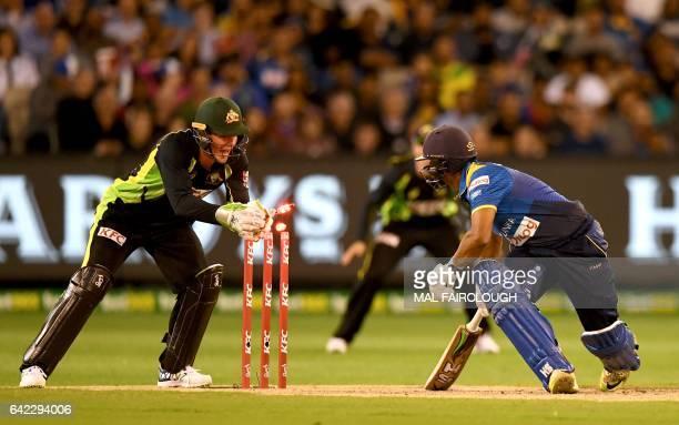 Australia's Tim Paine stumps Asela Gunaratne of Sri Lanka during the first Twenty20 cricket match between Australia and Sri Lanka at the MCG in...