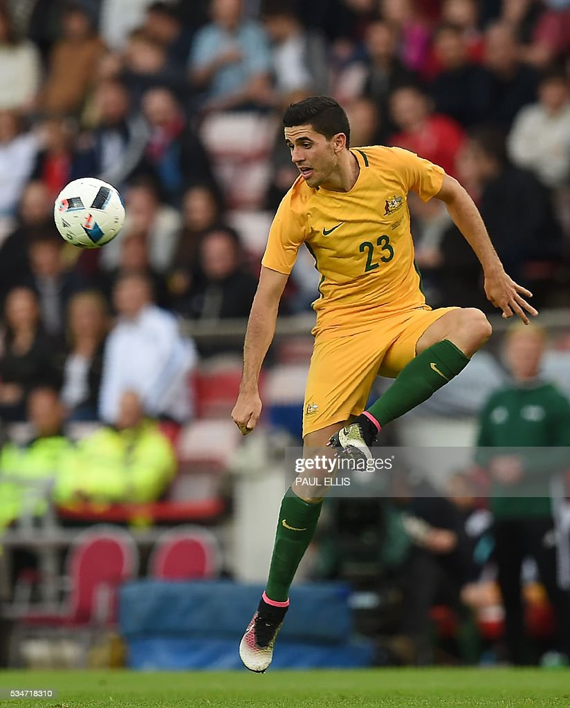 Australia's Tomas Rogic in action during the friendly football match between England and Australia at the Stadium of Light in Sunderland, north east England, on May 27, 2016. / AFP / PAUL
