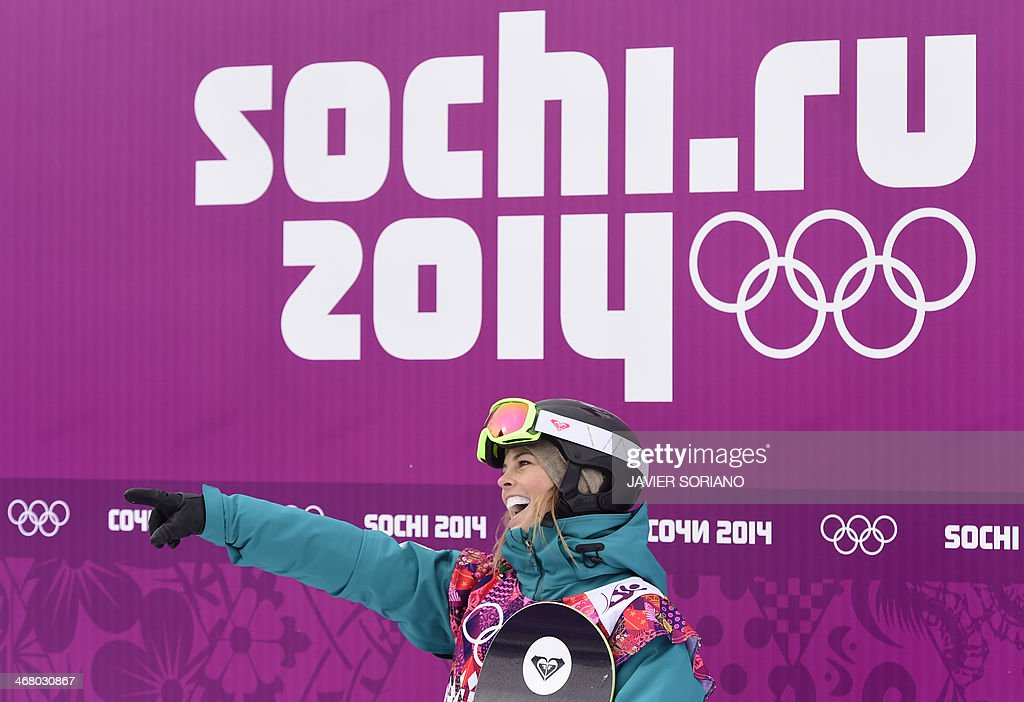 Australia's Torah Bright awaits results in the Women's Snowboard Slopestyle Final at the Rosa Khutor Extreme Park during the Sochi Winter Olympics on...
