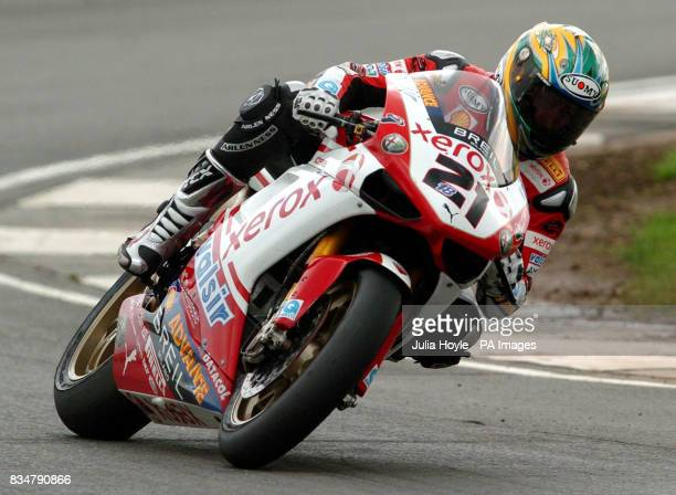 Australia's Troy Bayliss goes on to win the SBK World Superbikes Race One at Donington Park Castle Donington Derbyshire