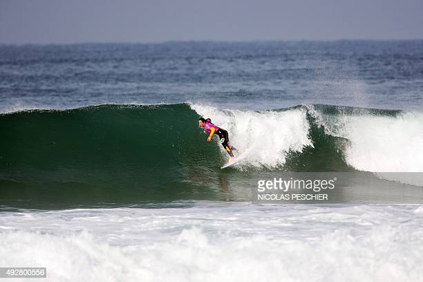 Australia's Tyler Wright competes during the 2015 World Surfing League Roxy Pro France in Hossegor southwestern France on October 15 2015 AFP PHOTO /...