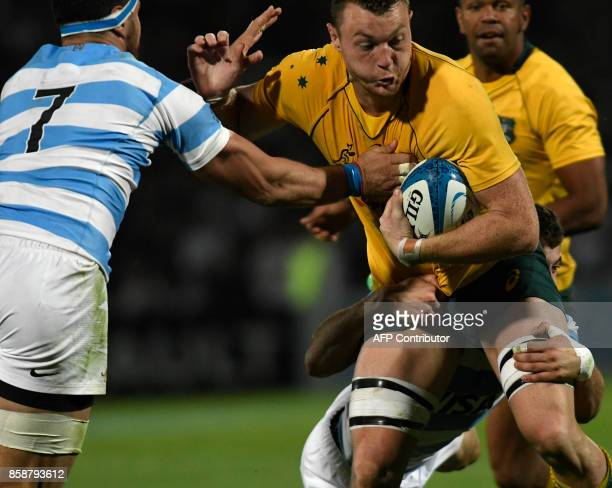 Australia's Wallabies Jack Dempsey is tackled by Argentina's Los Pumas Javier Ortega Desio during the Rugby Championship 2017 test match at Malvinas...