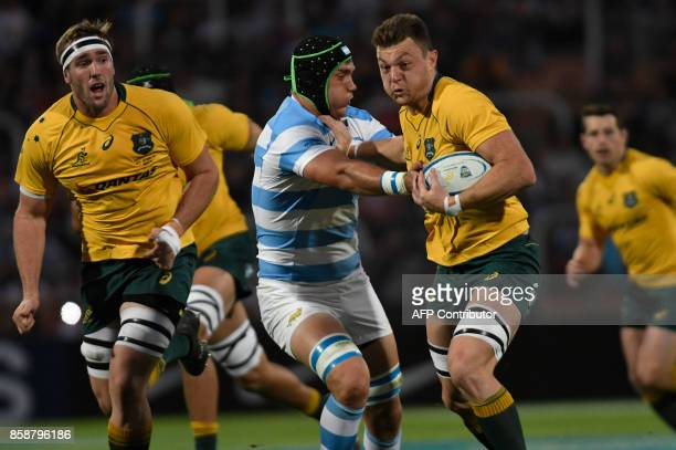 Australia's Wallabies Jack Dempsey is tackled by Argentina's Los Pumas Matias Alemano during the Rugby Championship 2017 test match at Malvinas...