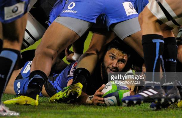 Australia's Western Force's centre Curtis Rona holds the ball during the Super Rugby match against Argentina's Jaguaresat the Jose Amalfitani stadium...