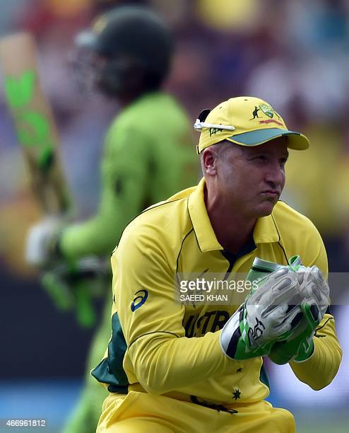 Australia's wicketkeeper Brad Haddin takes a catch off Pakistan's batsman Haris Sohail during the 2015 Cricket World Cup quarterfinal match between...