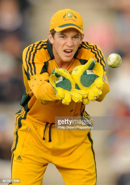 Australia's wicketkeeper Tim Paine catches the ball during the 3rd NatWest Series ODI between England and Australia at the Rose Bowl Southampton 9th...