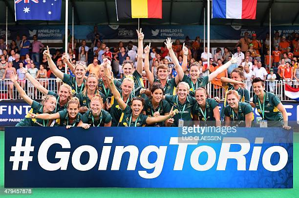 Australia's women field hockey team pose for a photo after the Netherlands defeated South Korea in the finals of the Women's Hockey World League...
