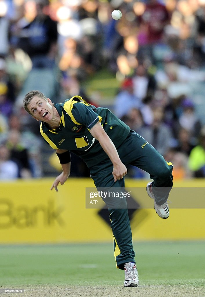 Australia's Xavier Doherty bowls against Sri Lanka during their one-day international cricket match at the Adelaide Oval on January 13, 2013. AFP PHOTO / David Mariuz USE