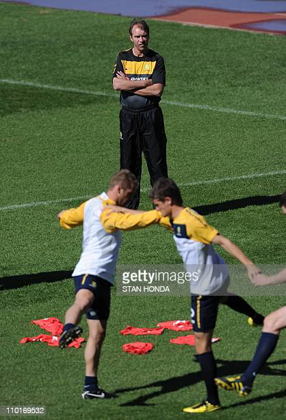 Australia'scoach Pim Verbeek watches players at a team training session at Ruimsig Stadium in Roodepoort on June 14 2010 during the 2010 World Cup...