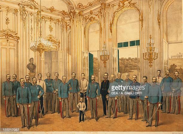 Austria 19th century Emperor Franz Joseph I of Austria with his Staff at Schonbrunn Palace