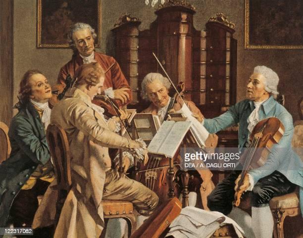 Austria 19th century Franz Joseph Haydn conducting a string quartet