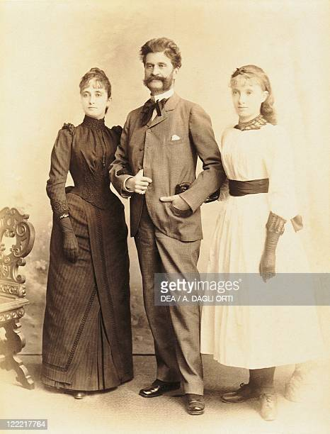 Austria 19th century Johann Strauss with wife Adele and daughter Alice