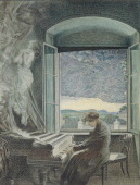 Austria 19th century Portrait of Ludwig van Beethoven German composer and pianist Playing the piano in his house in Vienna Pastel