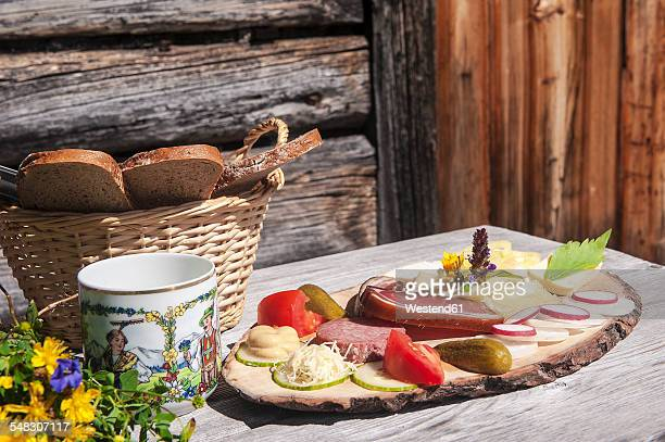 Austria, Altenmarkt-Zauchensee, typical cold snack