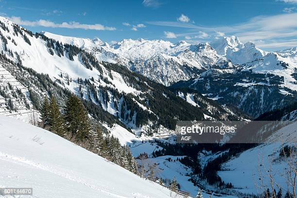Austria Biosphere Park Grosses Walsertal Lechquellen Mountains the valley and the North Tyrol Limestone Alps with the Rote Wand peak from Mt...
