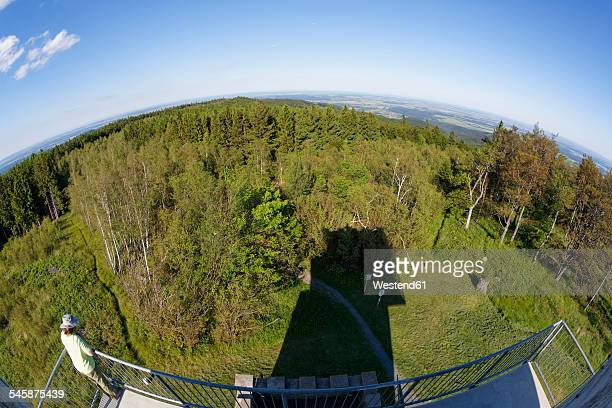Austria, Burgenland, view from viewing tower at Irott-koe to Hungary