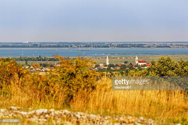 Austria, Burgenland, view on Rust and Lake Neusiedl from Kogel