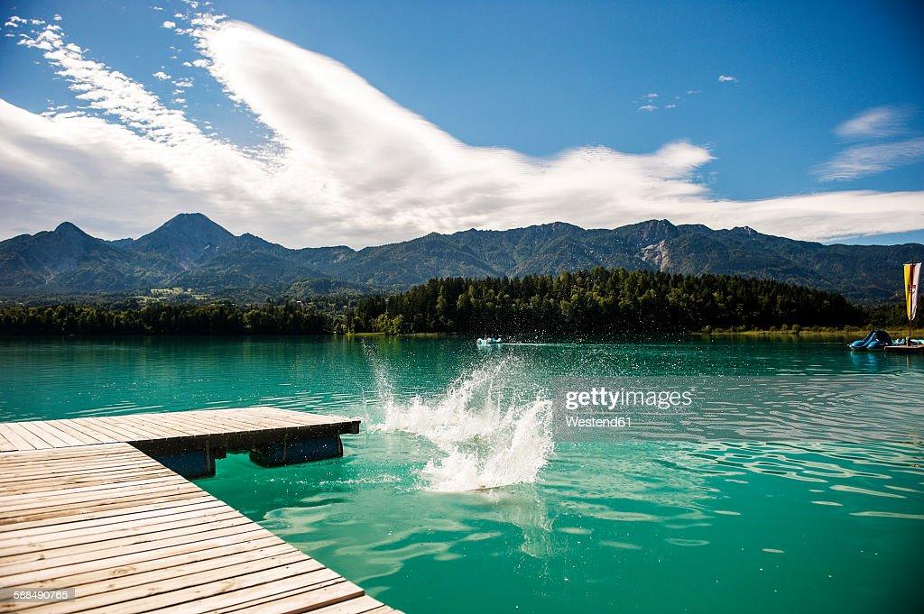 Austria, Carinthia, jetty at Lake Faak