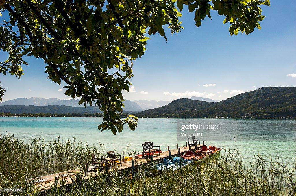 Austria, Carinthia, jetty at Lake Woertherses