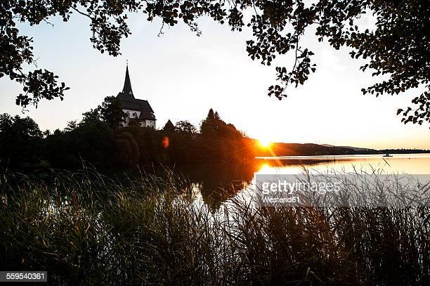 Austria, Carinthia, Lake Woerthersee with Maria Woerth