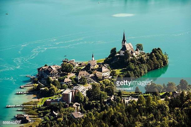 Austria, Carinthia, Maria Worth at Lake Worthersee, view from Pyramidenkogel
