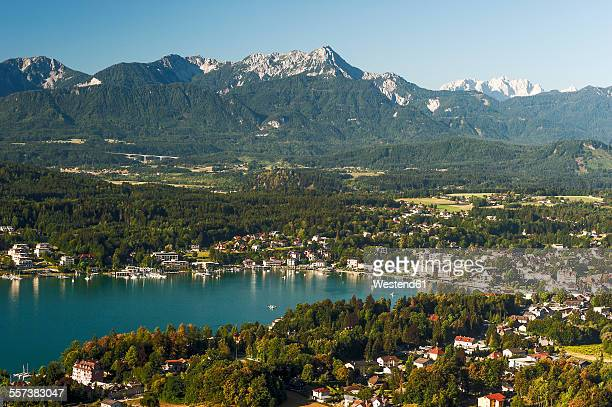 Austria, Carinthia, View to Woerthersee with Velden
