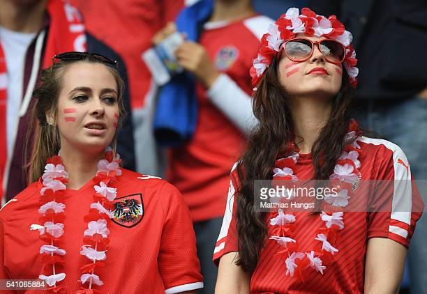 Austria fans enjoy the atmosphere prior to the UEFA EURO 2016 Group F match between Portugal and Austria at Parc des Princes on June 18 2016 in Paris...