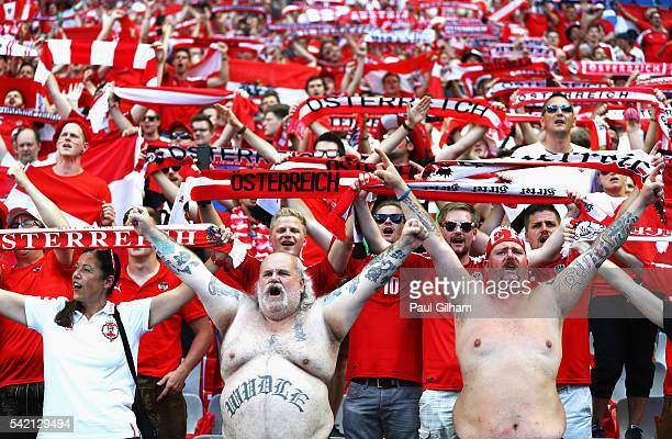 Austria fans show their support prior to the UEFA EURO 2016 Group F match between Iceland and Austria at Stade de France on June 22 2016 in Paris...