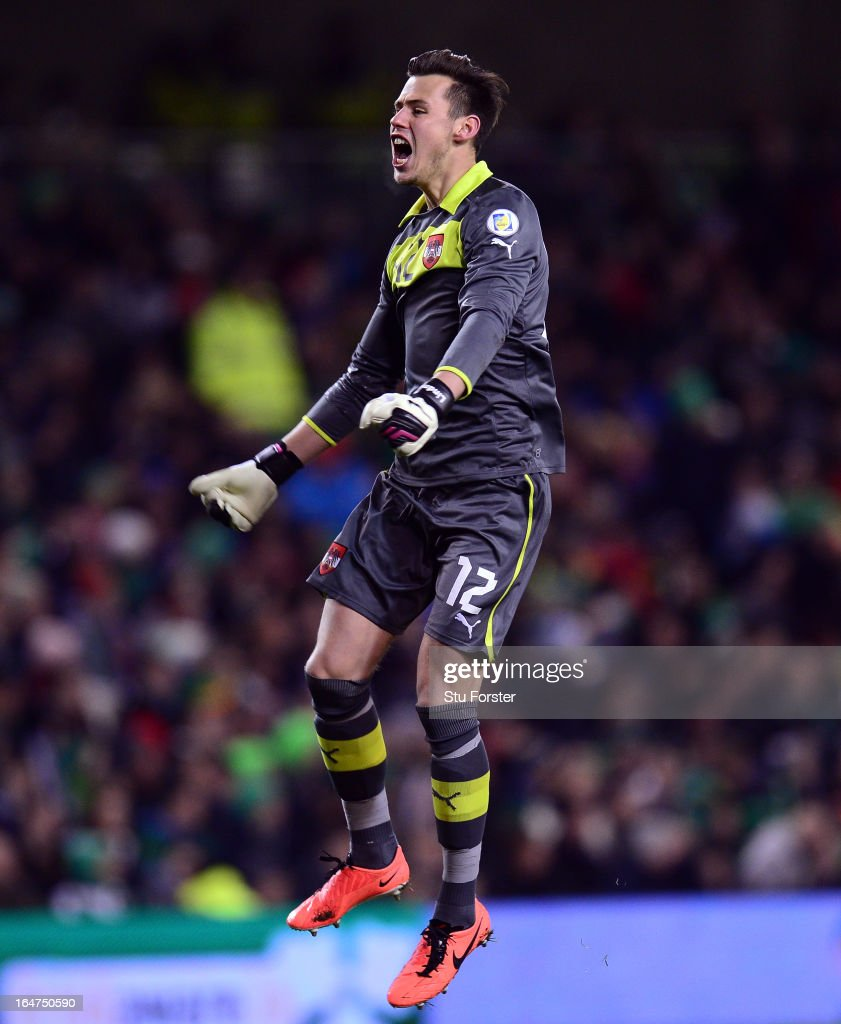 Austria goalkeeper Heinz Linder celebrates the first goal during the FIFA 2014 World Cup Group C Qualifiying match between Republic of Ireland and Austria at Aviva Stadium on March 26, 2013 in Dublin, Ireland.