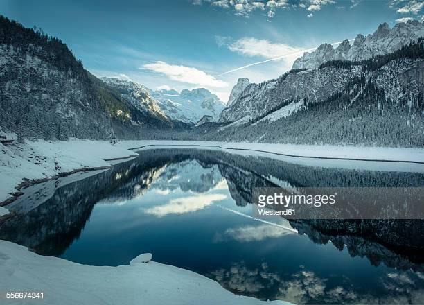 Austria, Gosau, Lake Vorderer Gosausee in winter