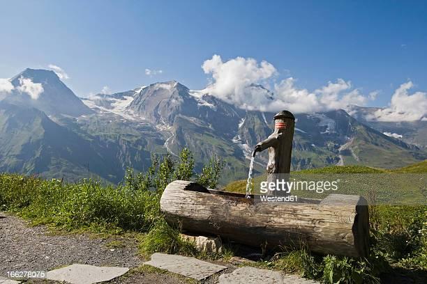 Austria, Grossglockner, Wooden fountain