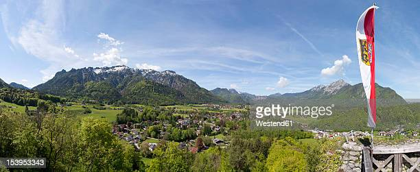 Austria, Grossgmain, View to Germany, Bavaria, Bayrisch Gmain with Latten mountains in background