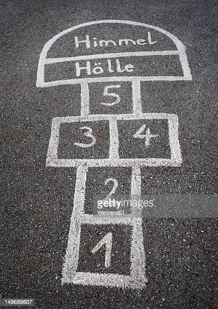 Austria, Hopscotch game for kids on street