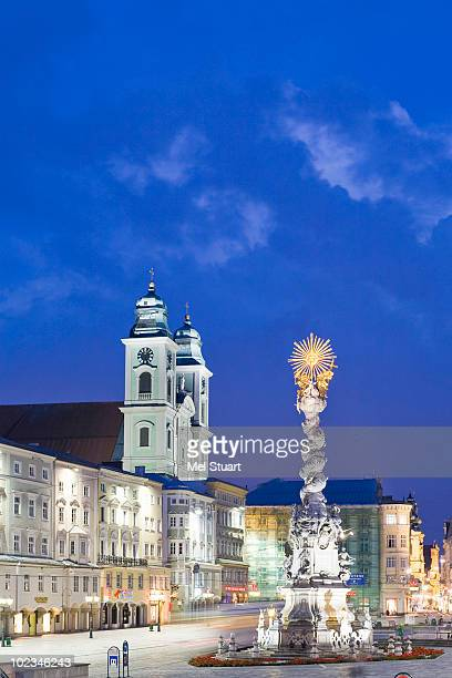Austria, Linz, cathedral and Trinity Column in town square