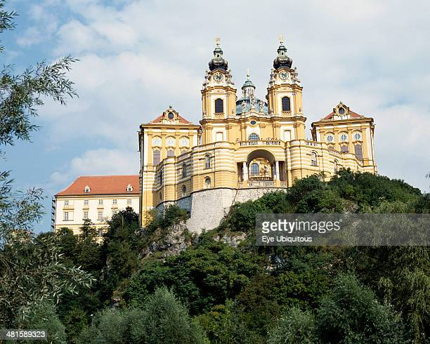 Austria Lowe Austria Melk Melk Abbey with twin clock towers on a hilltop surrounded by trees