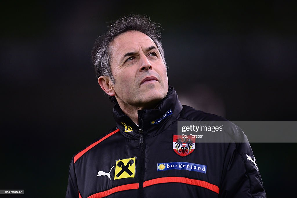 Austria manager <a gi-track='captionPersonalityLinkClicked' href=/galleries/search?phrase=Marcel+Koller&family=editorial&specificpeople=535663 ng-click='$event.stopPropagation()'>Marcel Koller</a> looks on before the FIFA 2014 World Cup Group C Qualifiying match between Republic of Ireland and Austria at Aviva Stadium on March 26, 2013 in Dublin, Ireland.